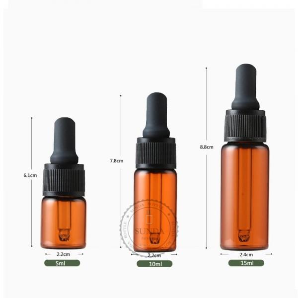 5ml 10ml 15ml bouteille en verre ambr avec bouchon. Black Bedroom Furniture Sets. Home Design Ideas